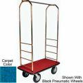 Easy Mover Bellman Cart Brass, Blue Carpet, Black Bumper, 8