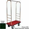 "Easy Mover Bellman Cart Brass, Green Carpet, Black Bumper, 8"" Gray Poly"