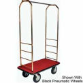 "Easy Mover Bellman Cart Brass, Red Carpet, Black Bumper, 8"" Gray Poly"