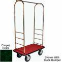Easy Mover Bellman Cart Brass, Green Carpet, Gray Bumper, 8
