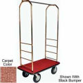 "Easy Mover Bellman Cart Brass, Tan  Carpet, Gray Bumper, 8"" Black Pneumatic"
