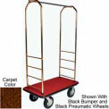 "Easy Mover Bellman Cart Brass, Brown Carpet, Gray Bumper, 8"" Gray  Pneumatic"