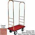 Easy Mover Bellman Cart Brass, Tan Carpet, Gray Bumper, 8