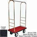 Easy Mover Bellman Cart Brass, Black Carpet, Gray Bumper, 5