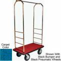 Easy Mover Bellman Cart Brass, Blue Carpet, Gray Bumper, 5