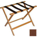 Economy Flat Top Wood Luggage Rack, Light Oak, Brown Straps 6 Pack