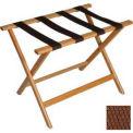 Economy Flat Top Wood Luggage Rack, Light Oak, Brown Straps 6 Pack - Pkg Qty 6