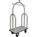 "HD Trident Bellman Cart Stainless, Gray Carpet, Black Bumper, 8"" Black Pneu"