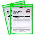 C-Line Products Neon Shop Ticket Holder, Green, Stitched, Both Sides Clear, 9 x 12, 15EA/BX