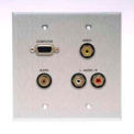 Comprehensive Double Gang Wallplate, Stereo Mini, 3RCA Passthru, Stainless-VGA