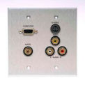 Comprehensive Double Gang Wallplate, Stereo Mini, S-Video, 3RCA Passthru, Stainless White-VGA