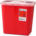 """Covidien 2-Gallon Biohazard Sharps Container with Rotor Opening Lid, 10-1/2""""W x 7-1/4""""D x 10""""H, Red"""