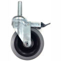 "Darnell-Rose Series Swivel Threaded Stem Caster w/Brake 900652 Polyolefin 3-1/2"" Dia. 240 Lb. Cap."