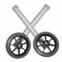 """Universal 5"""" Walker Wheels, Silver Tubing, Gray Tire and Silencer, 1 Pair"""