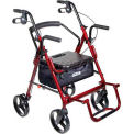 "Duet Transport Wheelchair Chair Rollator Walker, Burgundy, 8"" Casters"
