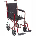 "Lightweight Aluminum Transport Wheelchair, Red Frame, 19"" Seat Width"