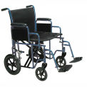 "Drive Medical BTR22-B Bariatric Heavy Duty Transport Wheelchair, 22"" Seat Width, Blue Frame"