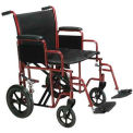 """Bariatric Heavy Duty Transport Wheelchair, 22"""" Seat Width, Red Frame"""