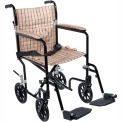 "Fly-Weight Aluminum Transport Chair, Black Frame and Tan Plaid Upholstery, 17"" Seat Width"