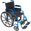 "20"" Blue Streak Wheelchair, Flip Back Desk Arms, Swing-away Footrests"