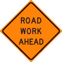 "Dicke Safety, Reflective Roll-Up Sign, 36""x36"", ROAD WORK AHEAD, RUR36-200 RWA"