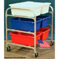"""DC Tech Side by Side Six Tote Cart DL101010, Knock Down, Stainless Steel , 34""""L x 28""""W x 39-1/2""""H"""