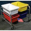"DC Tech Side by Side Quad Tote Cart DL102041, Knock Down, Aluminum , 34""L x 28""W x 27-1/2""H"