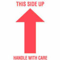 """This Side Up Handle With Care 3"""" x 5"""" - White / Red"""