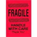 "Fragile Handle With Care Thank You 2"" x 3"" - Fluorescent Red / Black"