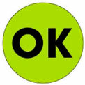 "Ok 2"" Dia. - Fluorescent Green / Black"