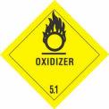 """Hazard Class 5 - Oxidizer 4"""" x 4"""" - Yellow / Black"""
