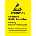 "Attn Static Sensitive 1-3/4"" x 2"" 1/2 - Yellow / Black"
