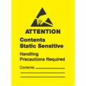 "Attn Static Sensitive 1-3/4"" x 2"" 1/2 - Yellow / Black"