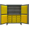 "Durham Bin Cabinet HDC60-156-3S95 - 12 Gauge With 156 Hook-On Bins & Shelves, 60""W x 24""D x 78""H"