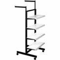 "Frame w/ 4-24"" Shelves & 2-16"" Arms (K400/AL) Garment Rack - Matte Black Frame w/ Almond Shelves"