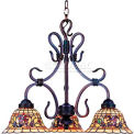 Landmark 363-VA Tiffany Buckingham 3-Light Chandelier, Vintage Antique With Tiffany Style Glass