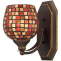 ELK 570-1B-MLT 1 Light Vanity, Aged Bronze And Multi Mosaic Glass, 5