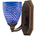 ELK 570-1B-S 1 Light Vanity, Aged Bronze And Sapphire Glass, 5