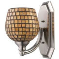 ELK 570-1C-GLD 1 Light Vanity, Polished Chrome And Gold Mosaic Glass, 5