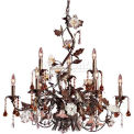 "ELK 85003 9 Light Chandelier, Deep Rust And Hand Blown Florets, 33""W x 31""H"