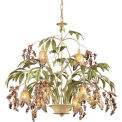 "ELK 86054 8 Light Chandelier, Seashell And Amber Glass, 28""W x 24""H"
