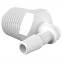 "Eldon James 1/2-14 NPT to 1/4"" Barbed Elbow, White Polypropylene"