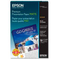 "Epson® Premium Presentation Paper, 11-3/4"" x 16-1/2"", 44 lb, Matte, White, 50 Sheets/Pack"