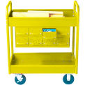 "4"" Deep Shelf Stock Cart, 2 Shelves, 8 Drawers, 800 Lb. Cap, 30x16x36 - Textured Safety Yellow"