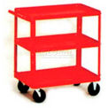 Stock Cart, 3 Shelves, 500 Lb. Cap, 36x24x33 - Textured Cherry Red