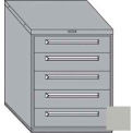 "Equipto 30""W Modular Cabinet 5 Drawers w/Dividers, 38""H, Keyed Alike Lock-Textured Dove Gray"