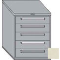 "Equipto 30""W Modular Cabinet 5 Drawers w/Dividers, 38""H, Keyed Alike Lock-Textured Putty"