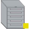 "Equipto 30""W Modular Cabinet 5 Drawers w/Dividers, 38""H, Keyed Alike Lock-Textured Safety Yellow"