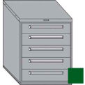 "Equipto 30""W Modular Cabinet 5 Drawers No Divider, 38""H, Keyed Alike Lock-Textured Evergreen"