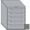 "Equipto 30""W Modular Cabinet 5 Drawers No Divider, 38""H, Keyed Alike Lock-Smooth Office Gray"